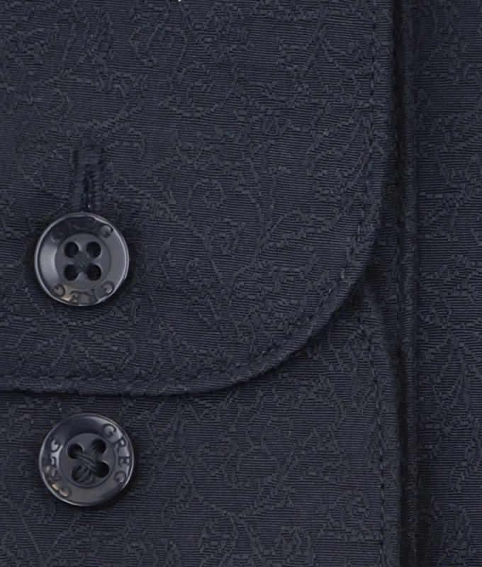 Рубашка Greg черная, однотонная, приталенный силуэт, длинный рукав