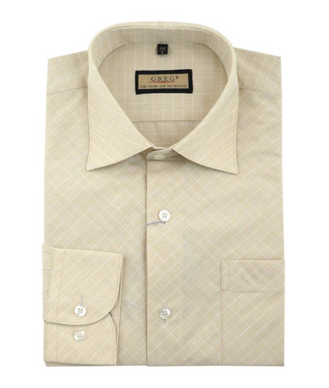 Рубашка Greg песочная, в полоску, классический силуэт, длинный рукав