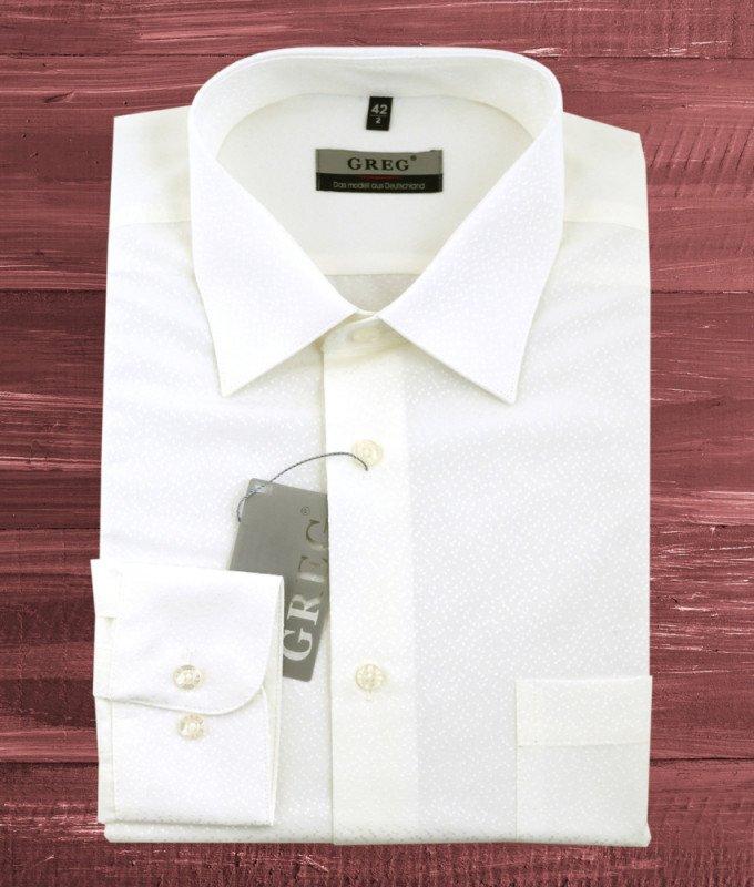 Рубашка Greg бежевая/молочная, однотонная, приталенный силуэт, длинный рукав