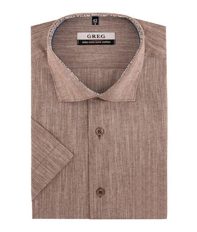 Рубашка Greg коричневая, мелкий орнамент, классический силуэт, короткий рукав