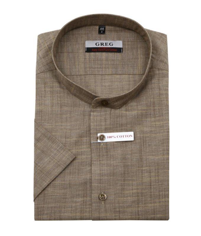 Рубашка Greg коричневая, однотонная под холст, приталенный силуэт