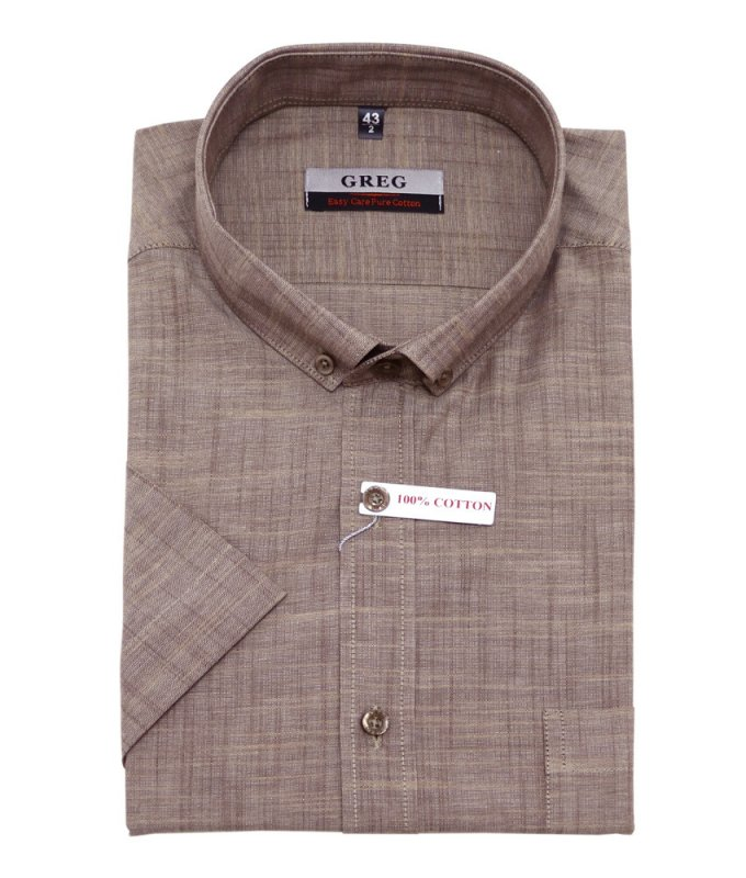 Рубашка Greg коричневая, однотонная, классический силуэт