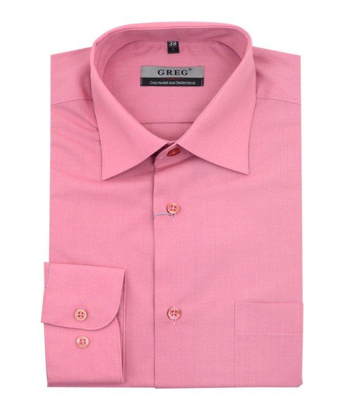 Рубашка Greg розовая, однотонная, классический силуэт, длинный рукав