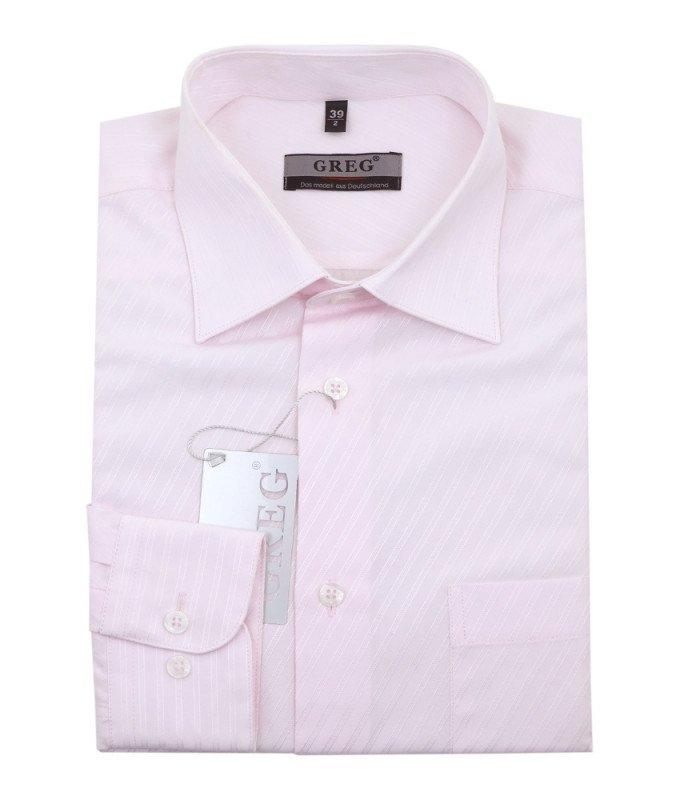 Рубашка Greg розовая, в полоску, приталенный силуэт, длинный рукав