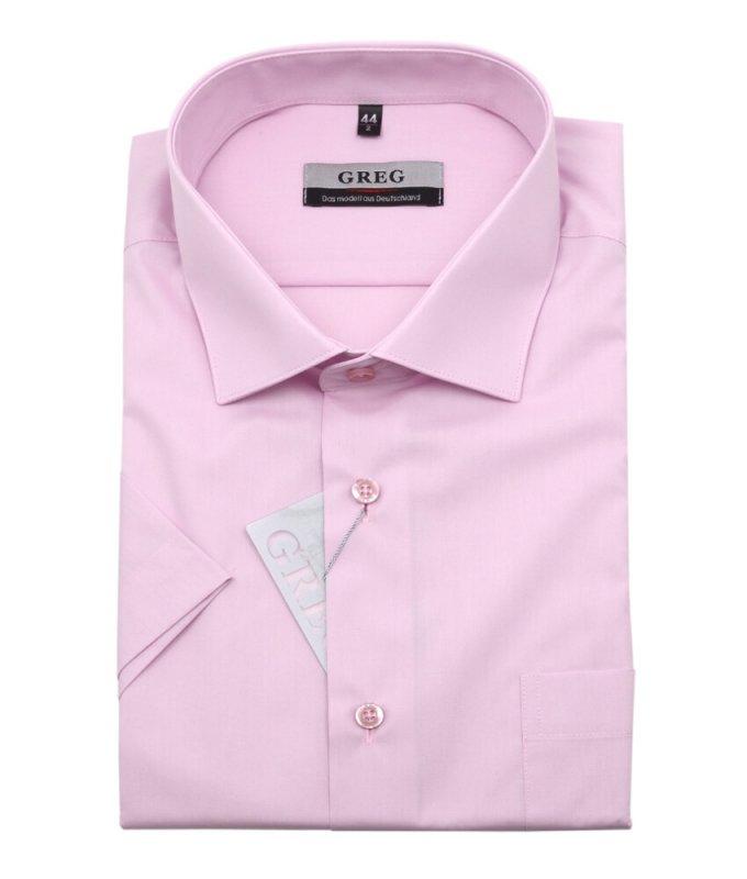 Рубашка Greg розовая, однотонная, классический силуэт