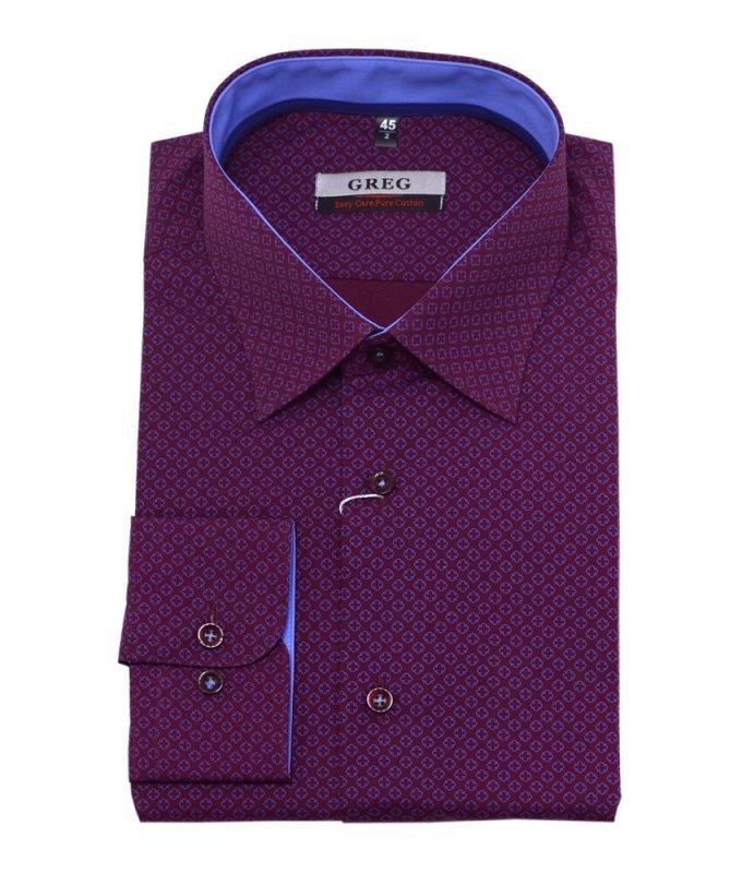 Рубашка Greg темно-вишневого цвета, с узором, полуприталенный силуэт