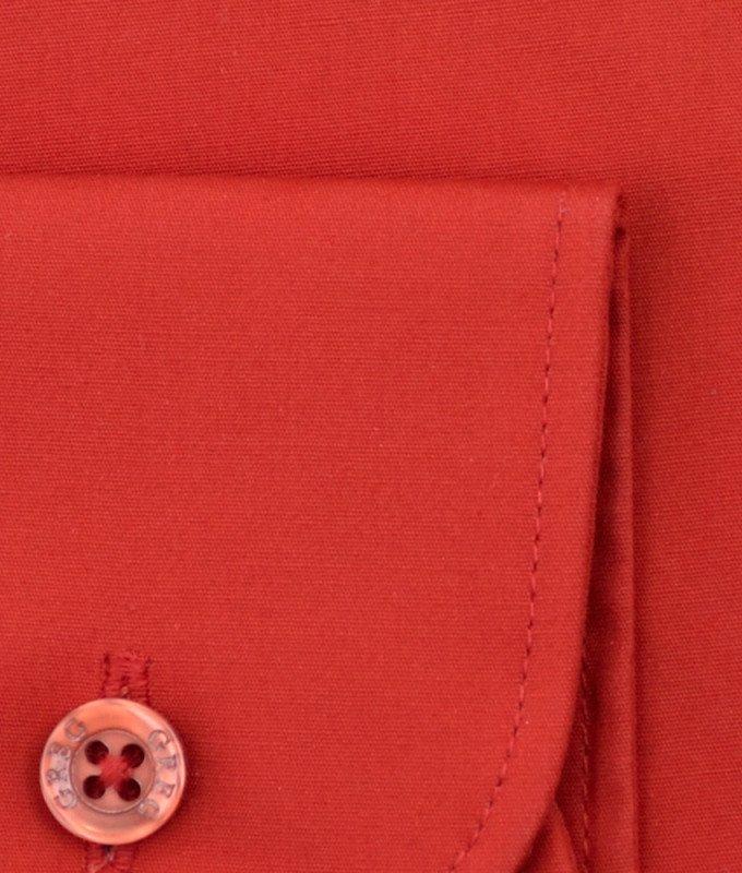 Рубашка Greg красная, однотонная, приталенный силуэт, длинный рукав