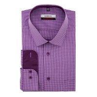 Рубашка Greg фиолетовая, в клетку, приталенный силуэт