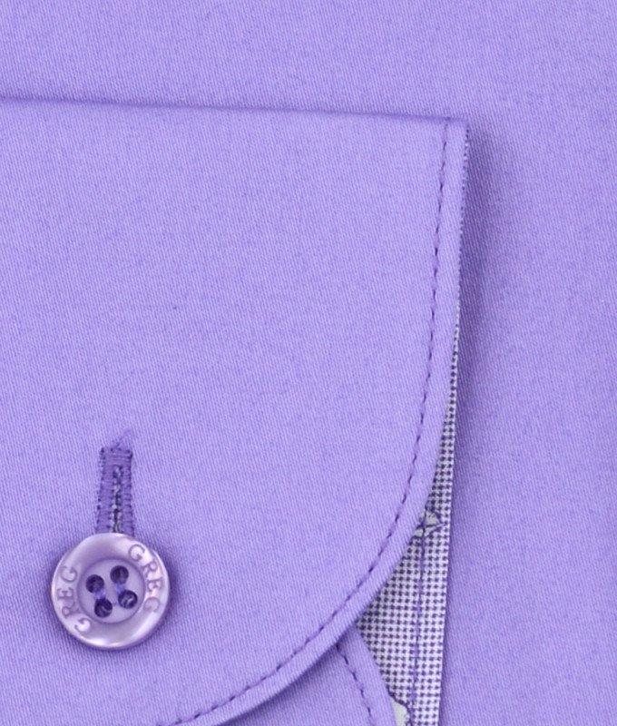 Рубашка Greg сиреневая, однотонная, приталенный силуэт, длинный рукав