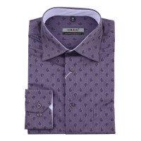 Рубашка Greg фиолетовая, с узором, приталенный силуэт, длинный рукав