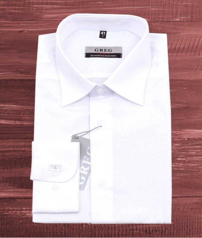 Рубашка Greg белая, однотонная, гладкая, приталенный силуэт, длинный рукав