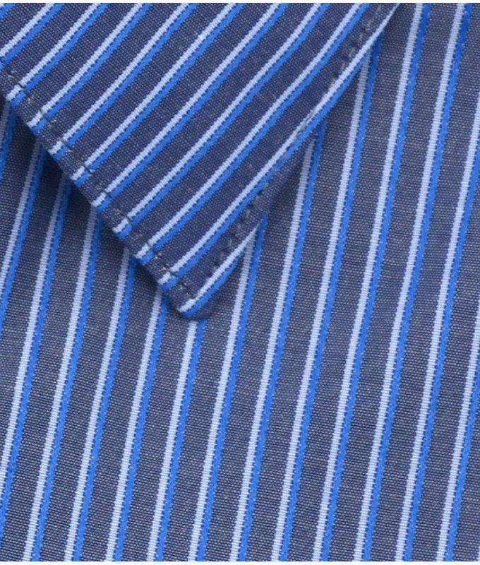 Рубашка Greg синяя, в полоску, приталенный силуэт, длинный рукав