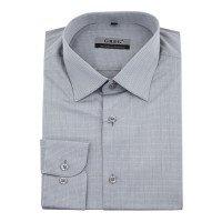 Рубашка Greg серая, мелкий орнамент, приталенный силуэт, длинный рукав