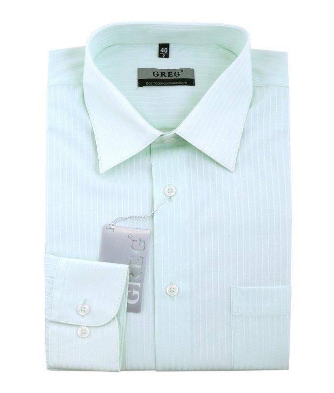 Рубашка Greg мятная, в полоску, приталенный силуэт, длинный рукав