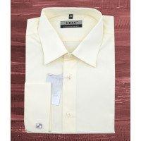 Рубашка Greg бежевая/молочная, однотонная, классический силуэт, длинный рукав