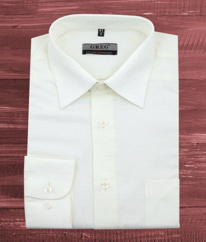 Рубашка Greg бежевая/молочная, с узором, приталенный силуэт, длинный рукав