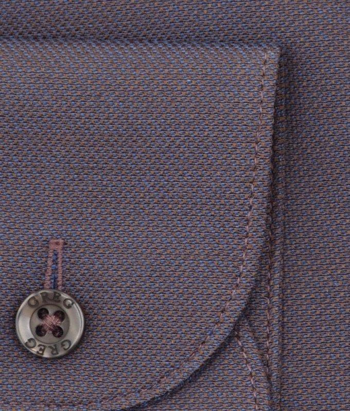 Рубашка Greg коричневая, мелкий орнамент, приталенный силуэт, длинный рукав