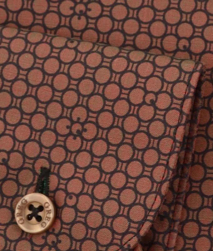 Рубашка Greg коричневая, с узором, приталенный силуэт, длинный рукав