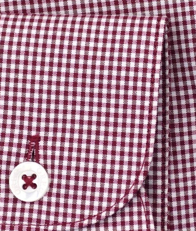 Рубашка Greg бордовая, в клетку, приталенный силуэт, длинный рукав
