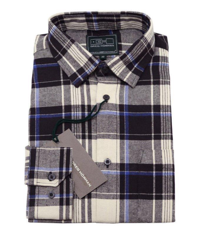Рубашка GregHorman коричневая, в клетку, классический силуэт