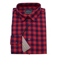 Рубашка GregHorman красная, в клетку, классический силуэт