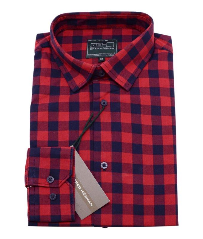 Рубашка GregHorman бордовая, в клетку, классический силуэт