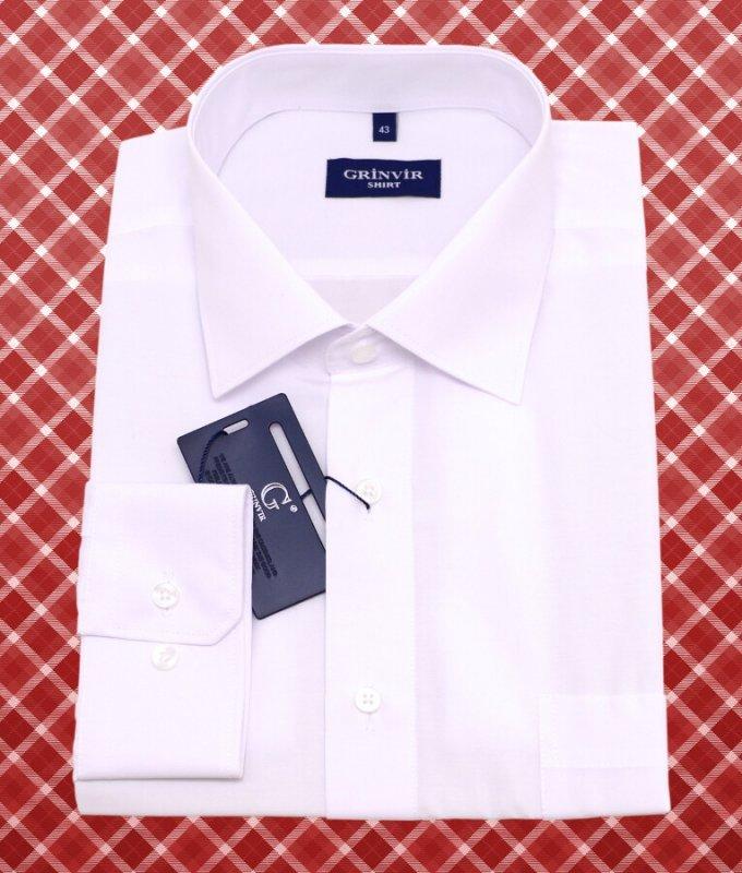 Рубашка Grinvir белая, однотонная, классический силуэт