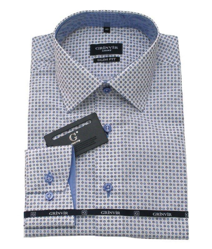 Рубашка Grinvir голубая, с узором, приталенный силуэт