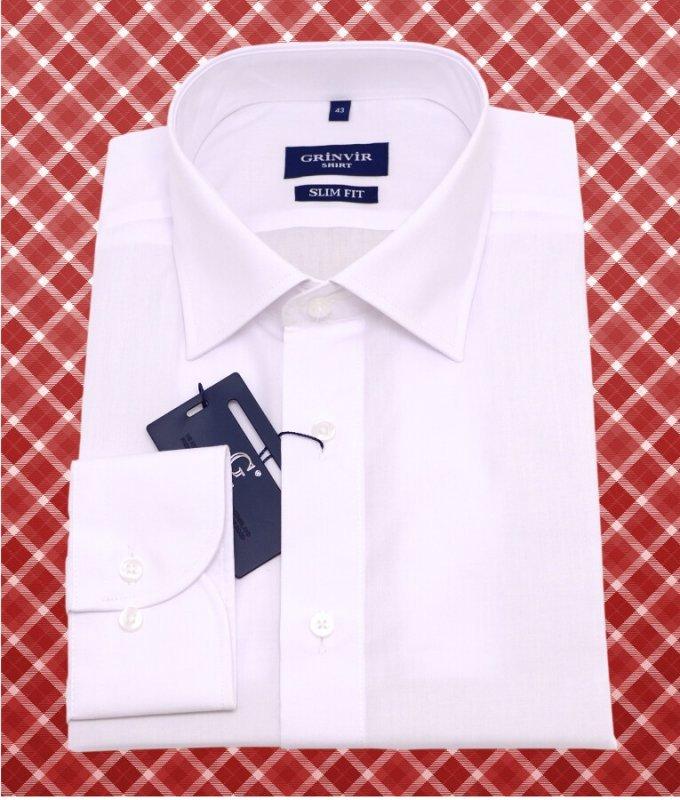 Рубашка Grinvir белая, однотонная, приталенный силуэт
