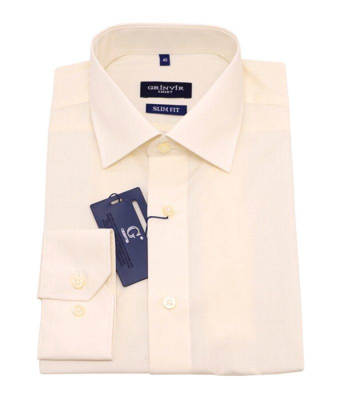 Рубашка Grinvir бежевая/молочная, однотонная, приталенный силуэт