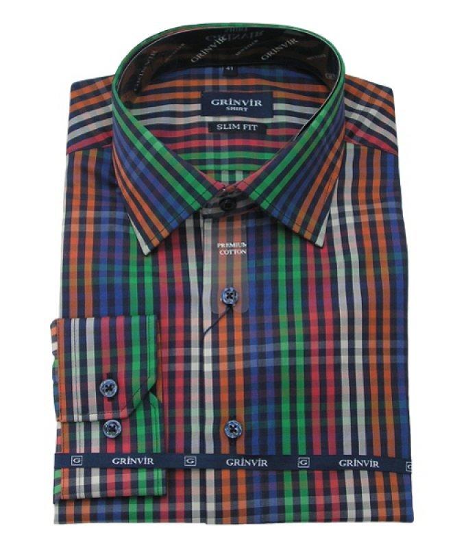Рубашка Grinvir многоцветная, в клетку, приталенный силуэт