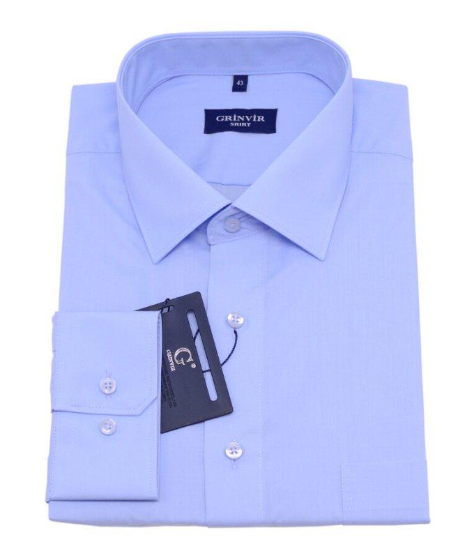 Рубашка Grinvir голубая, однотонная, классический силуэт