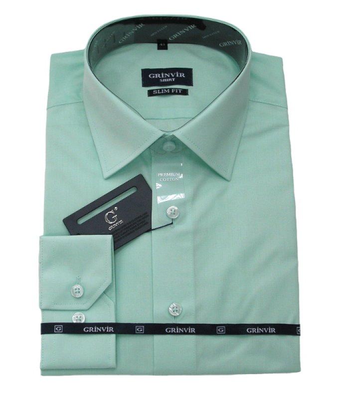 Рубашка Grinvir зеленая, однотонная, приталенный силуэт