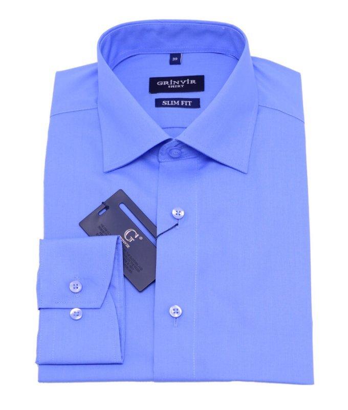 Рубашка Grinvir синяя, однотонная, полуприталенный силуэт