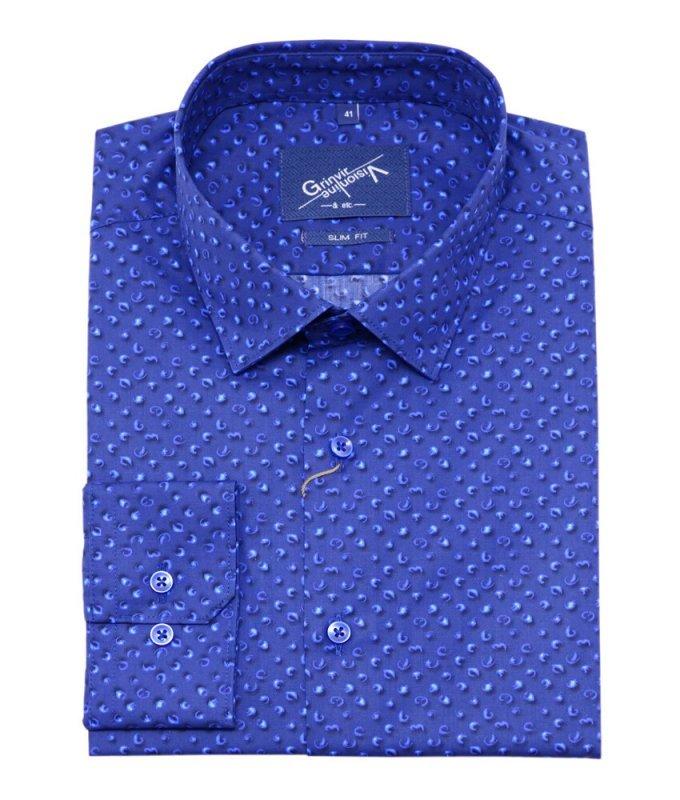 Рубашка Grinvir синяя, с узором, приталенный силуэт