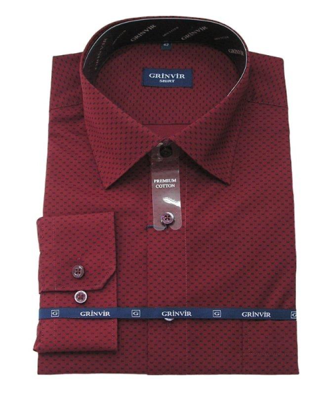 Рубашка Grinvir бордовая, с узором, классический силуэт