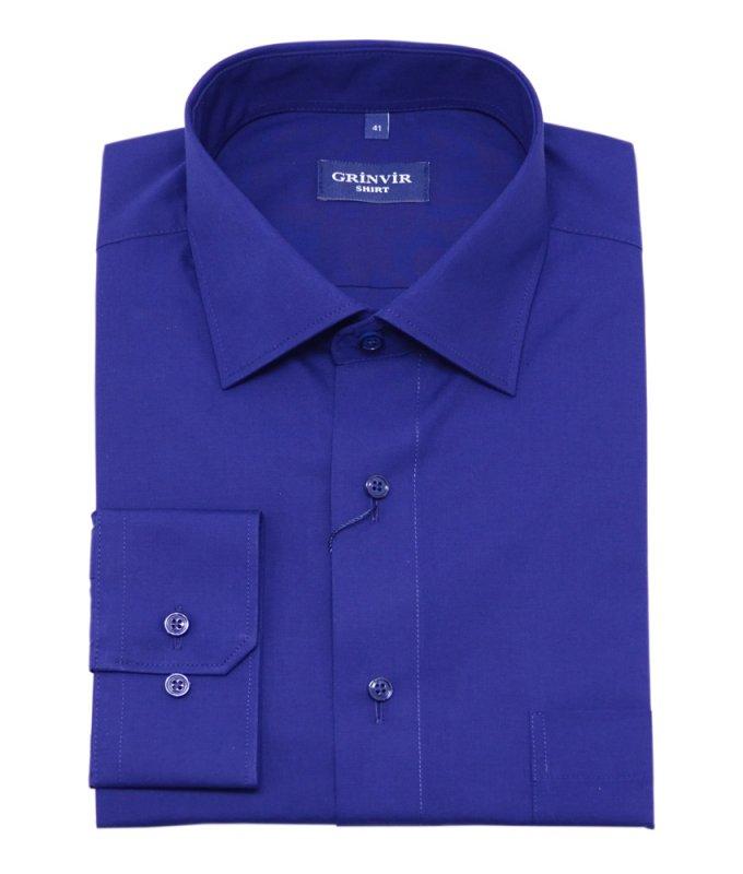 Рубашка Grinvir цвета индиго, однотонная, классический силуэт