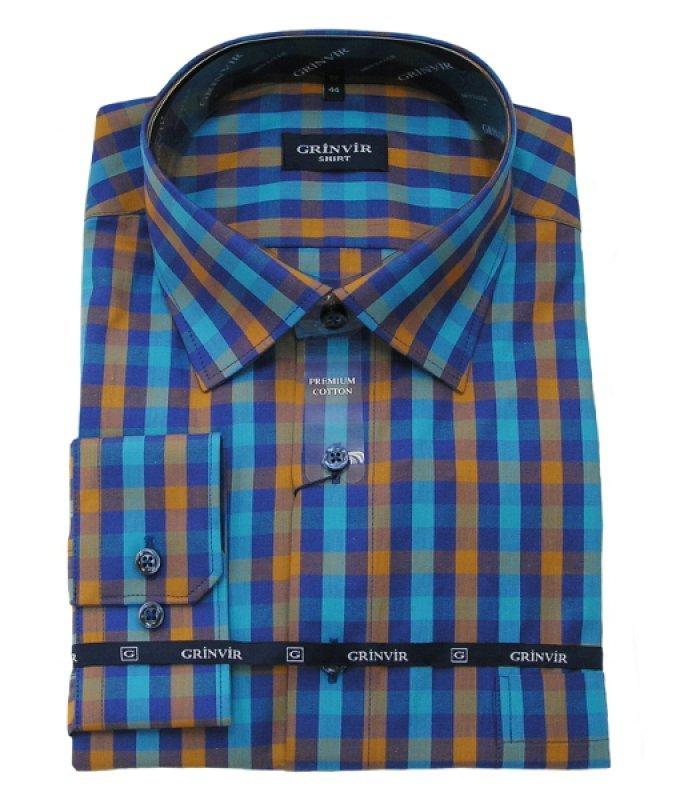 Рубашка Grinvir голубая, в клетку, классический силуэт