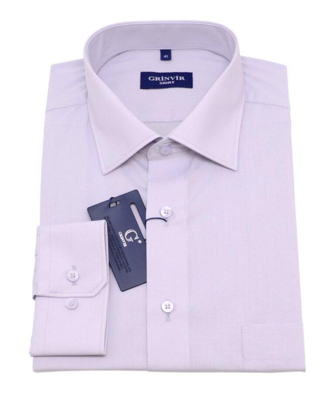 Рубашка Grinvir серая, однотонная, классический силуэт
