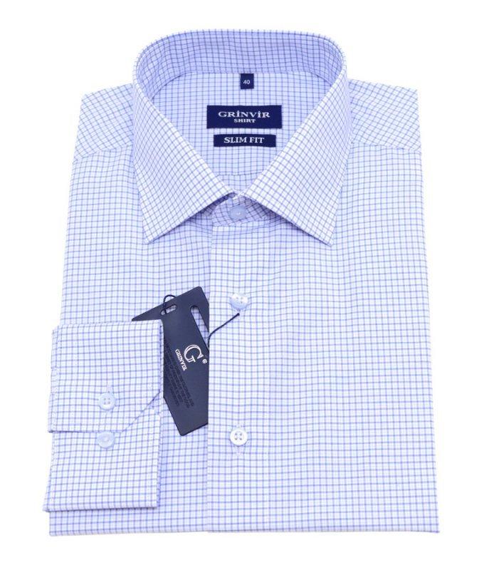 Рубашка Grinvir голубая, в клетку, полуприталенный силуэт