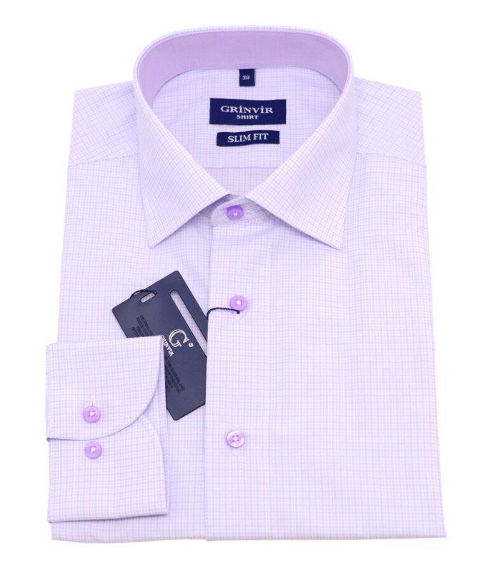Рубашка Grinvir розовая, в клетку, приталенный силуэт