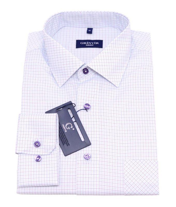 Рубашка Grinvir фиолетовая, в клетку, классический силуэт