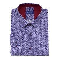 Рубашка Grinvir синяя, мелкий орнамент, классический силуэт