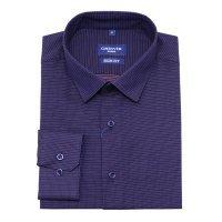Рубашка Grinvir фиолетовая, мелкий орнамент, приталенный силуэт