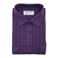 Рубашка Grossir синяя, в клетку, классический силуэт, длинный рукав