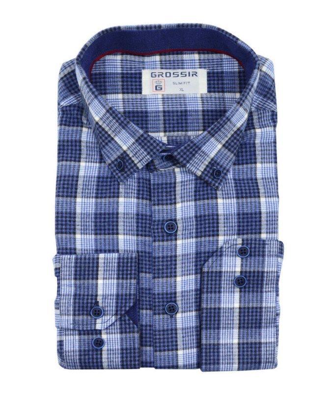 Рубашка Grossir синяя, в клетку, приталенный силуэт, длинный рукав