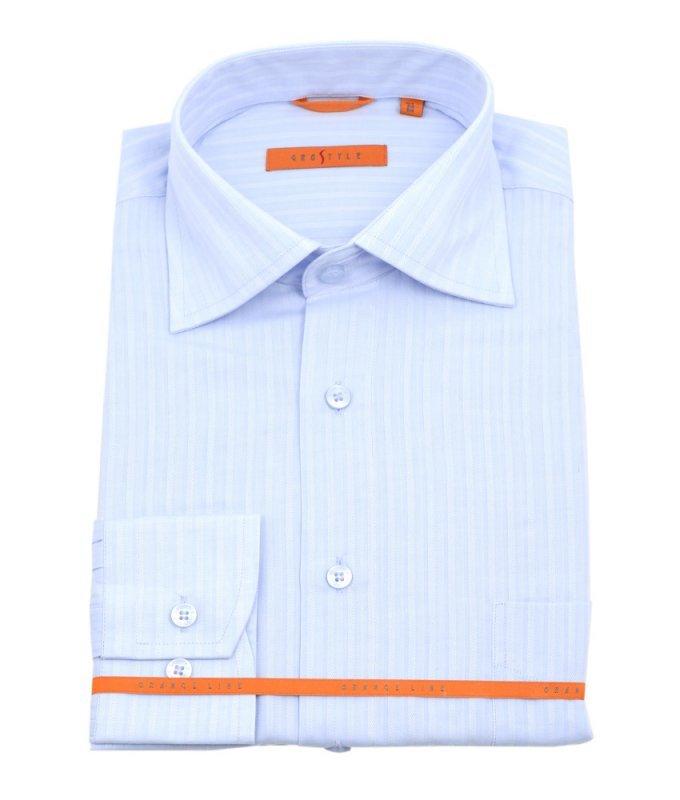 Рубашка Grostyle голубая, в полоску, классический силуэт