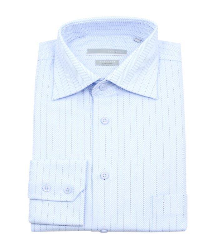 Рубашка Grostyle голубая, с узором, классический силуэт