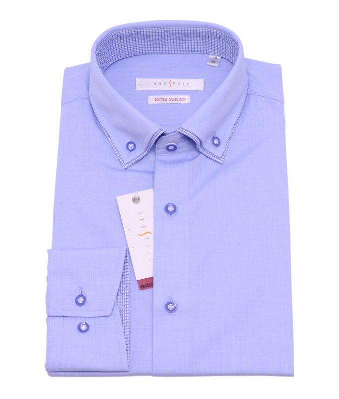 Рубашка Grostyle голубая, однотонная, очень приталенный силуэт