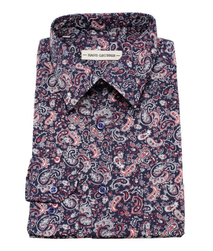 Рубашка Hans Grubber синяя, с узором, классический силуэт